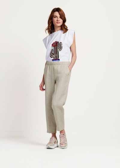 Clara trousers with rush matting-effect elastic waistband