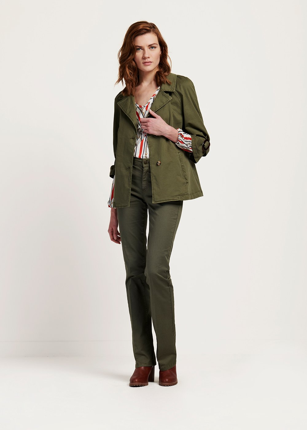 Clark cotton jacket with turtle details - Green - Woman
