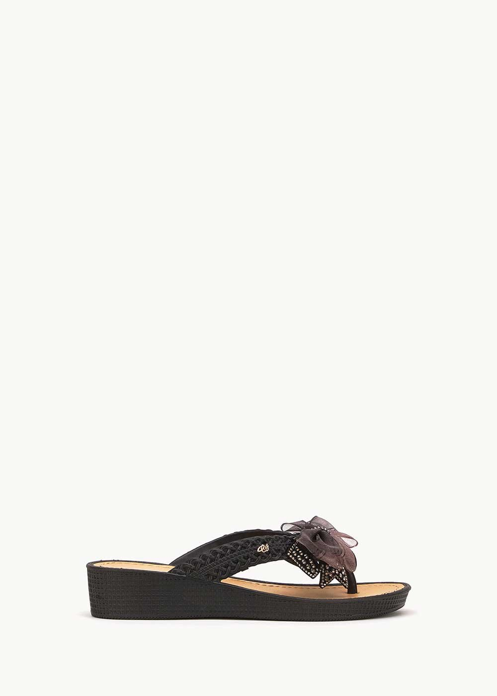 Sukie flip flops with bow detail - Black - Woman