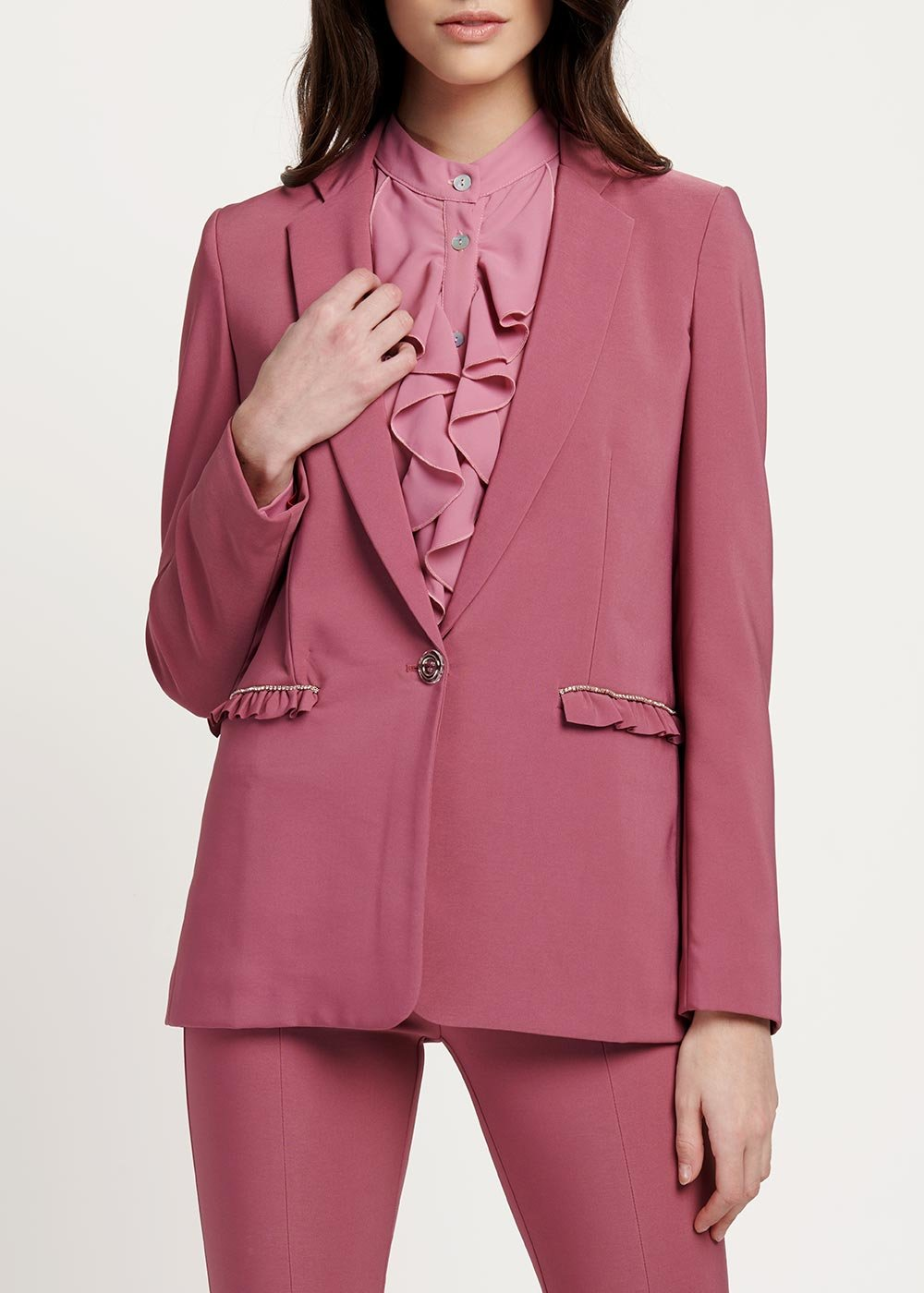 Germana jacket with revers and frills - Candy - Woman
