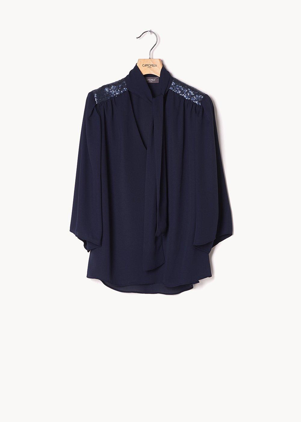 Blusa Christina con inserti di paillettes - Medium Blue - Donna