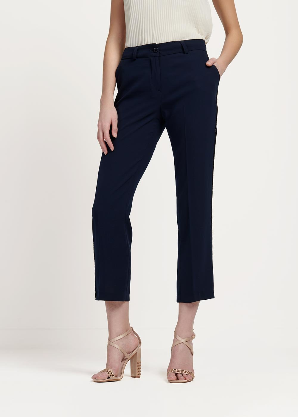 Phillis palazzo pants with side rhinestone trimming - Medium Blue - Woman