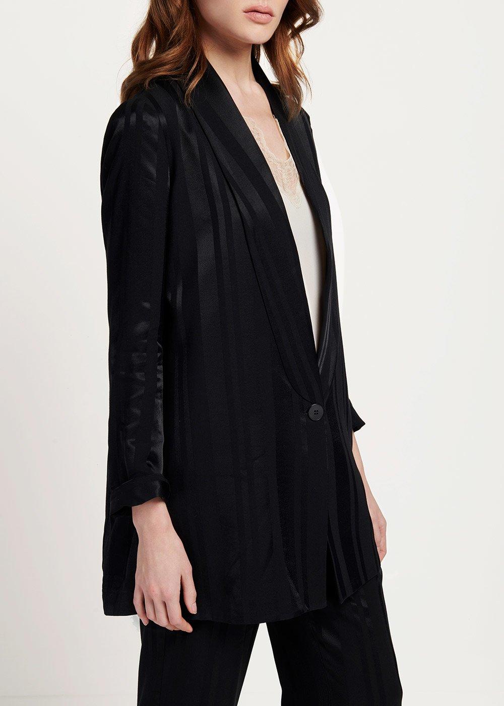 Giacca Greta modello smoking tessuto rigato - Black - Donna