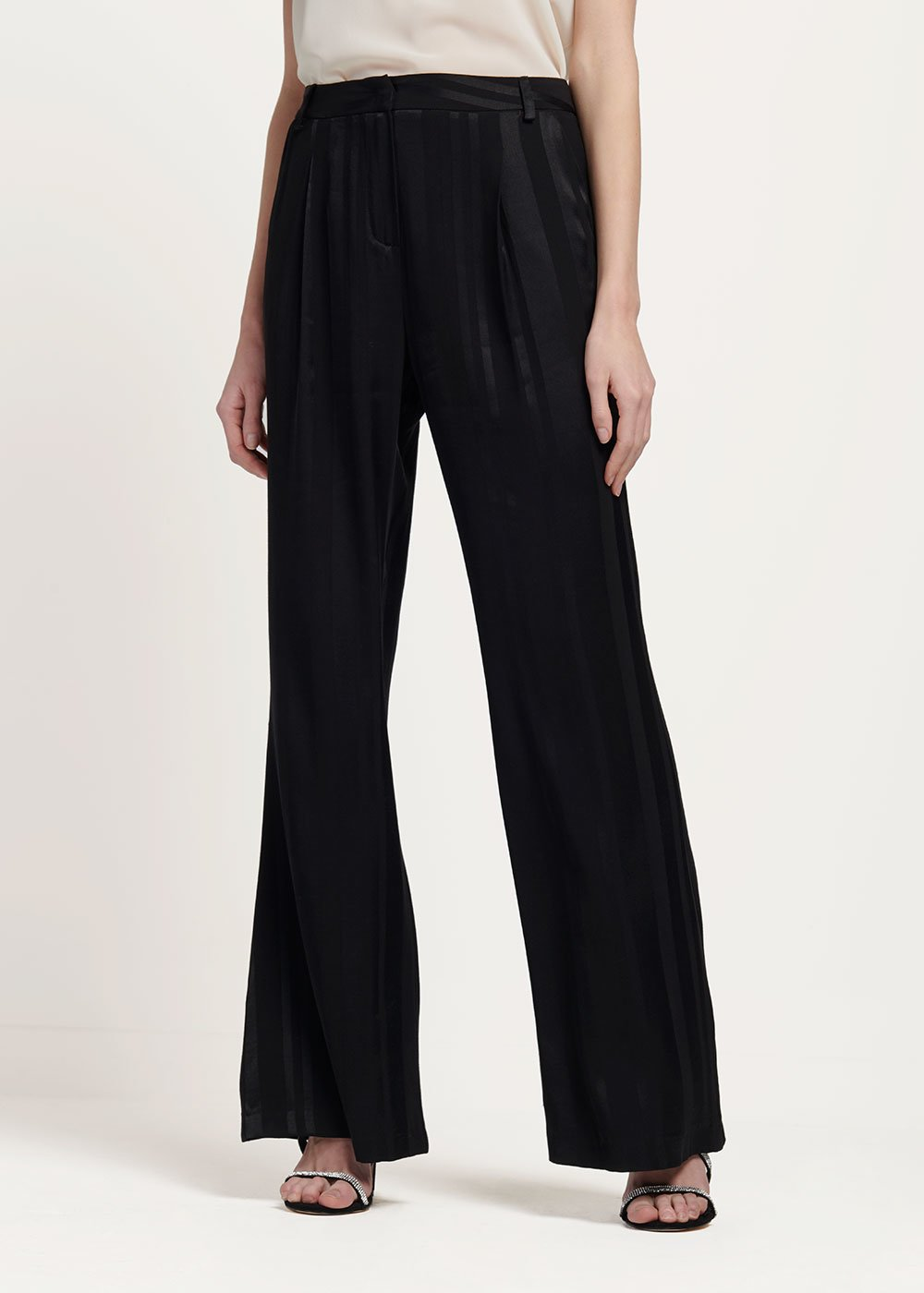 Pantalone Portos tessuto rigato - Black - Donna