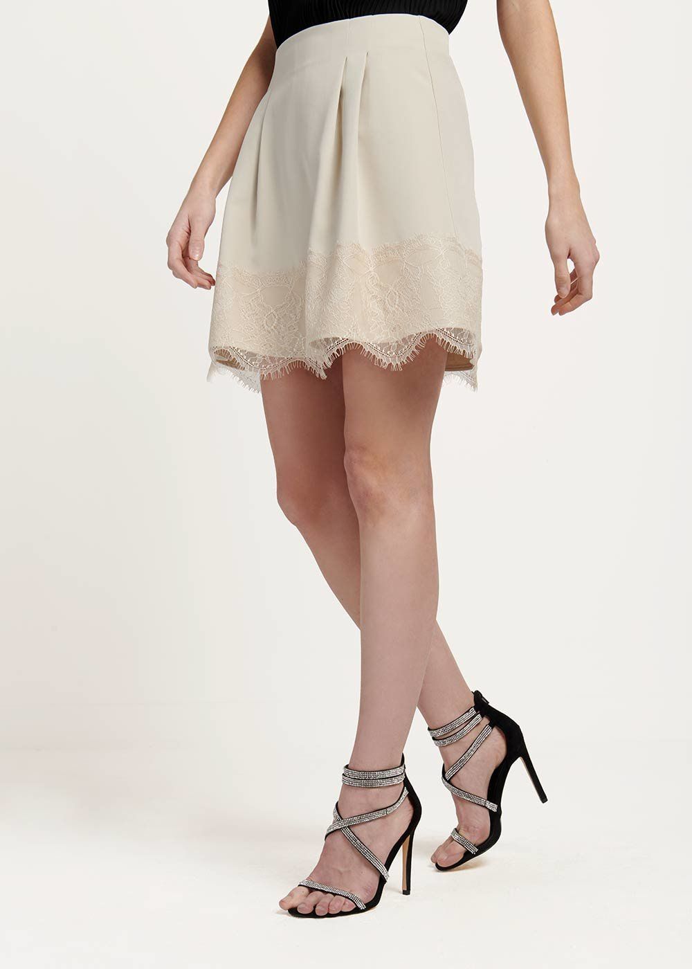 Giselle skirt with lace at the bottom - Ginger - Woman