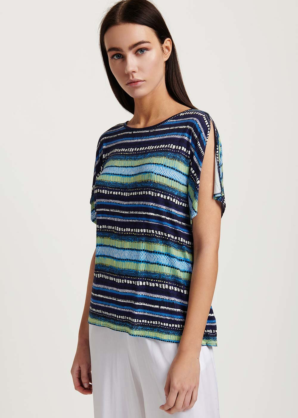 Sari striped T-shirt - M.blue / White / Stripes - Woman