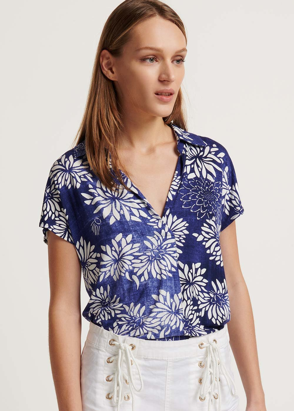 Samelia T-shirt with floral blue pattern - Blu / White / Fantasia - Woman