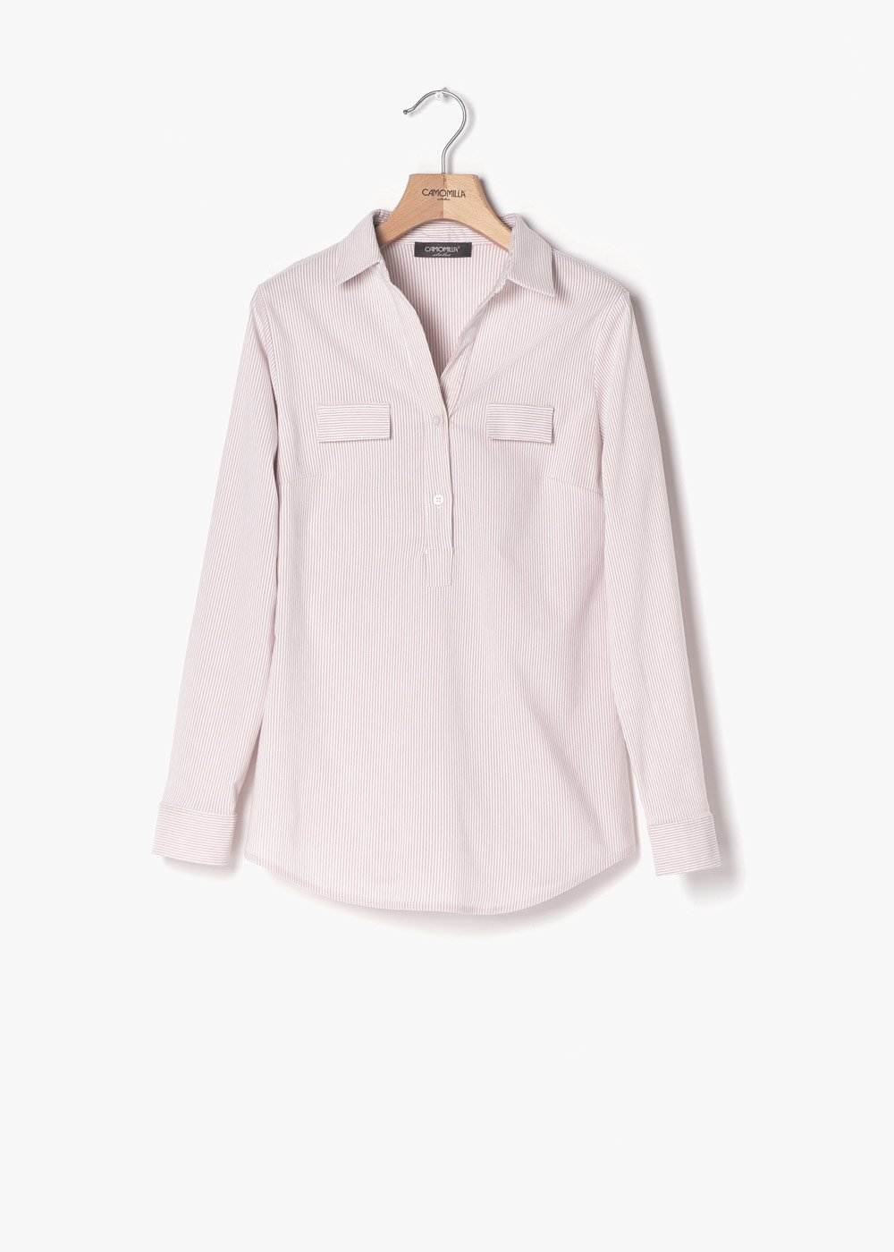 Paola shirt on striped fabric - Rosa / White Stripes - Woman