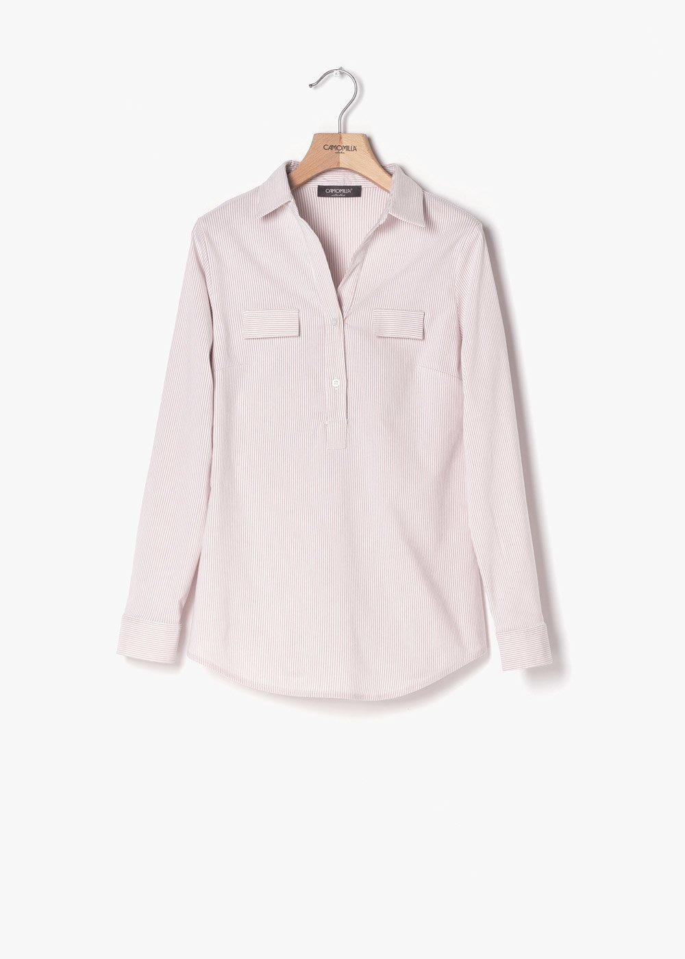 Camicia Paola su tessuto rigato - Rosa /  White Stripes - Donna
