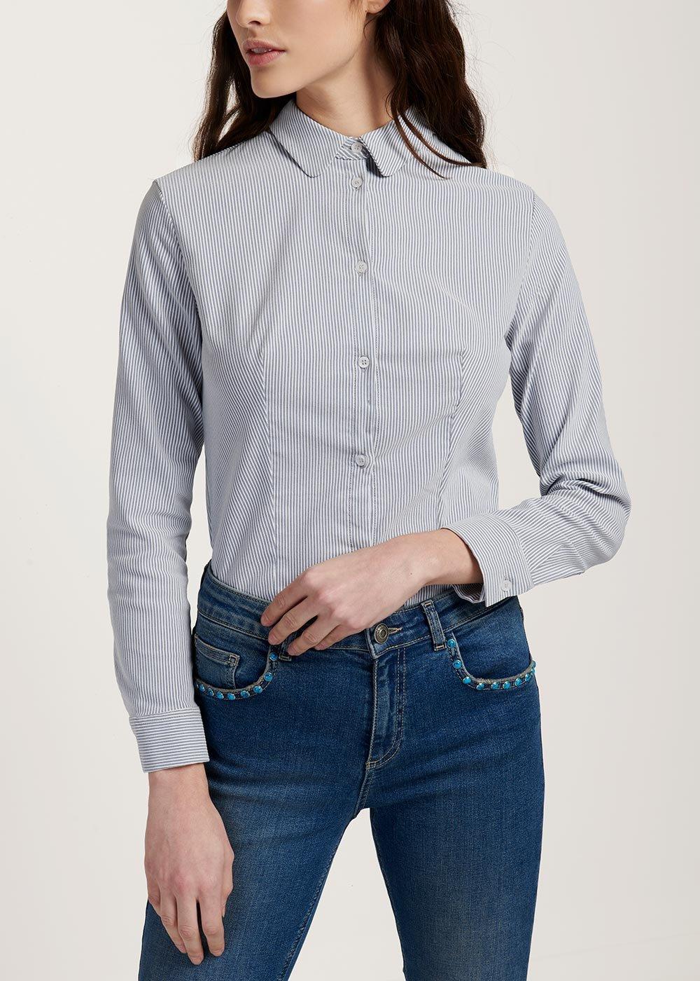 Camicia Alessia su tessuto rigato - Avion / White Stripes - Donna