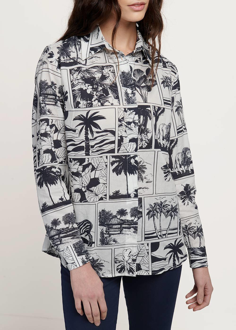 Camicia modello Alessia stampa fumetto - Navy White Fantasia - Donna