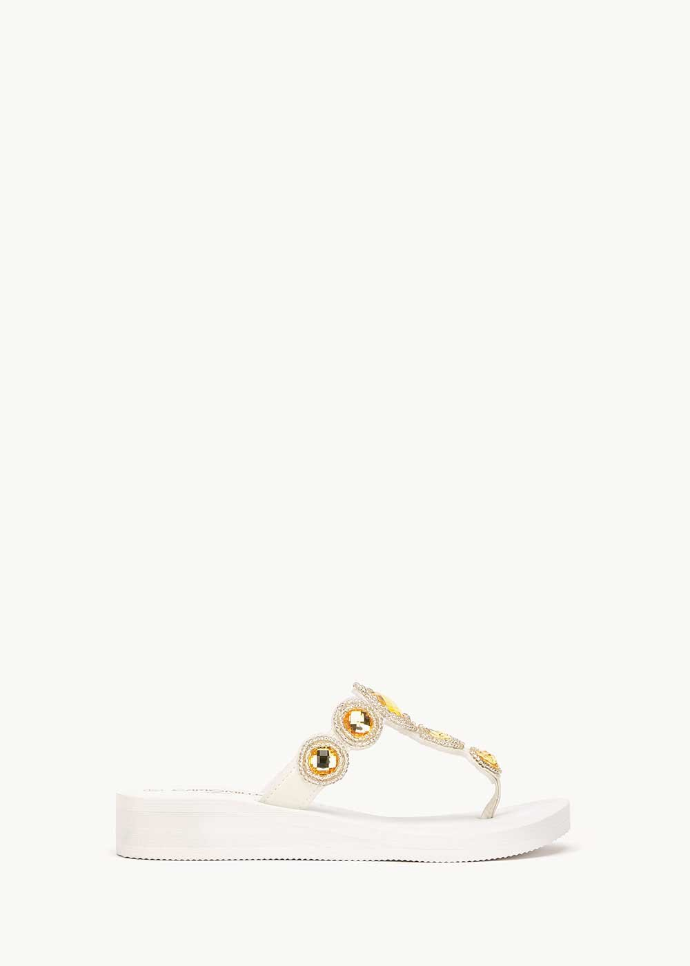 Picy beach flip flops with gem detail - coconut - Woman