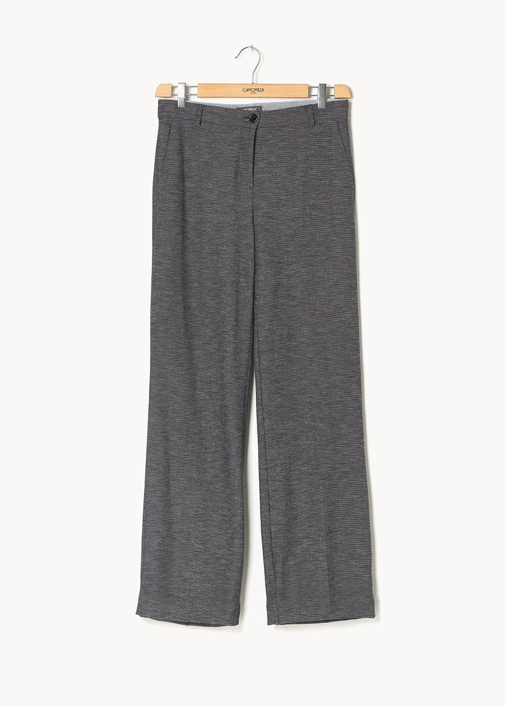 Pantalone modello Giorgia effetto stuoietta - Blu / White / Fantasia - Donna