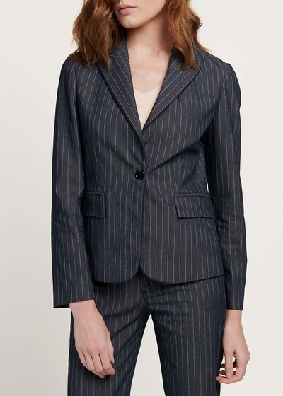 Cindy jacket with pinstripe denim print