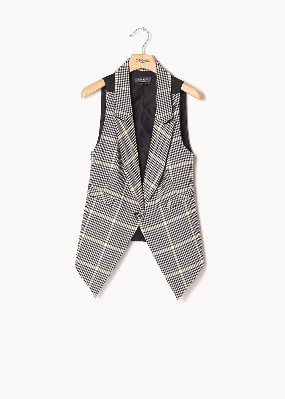 Gil waistcoat with checked pattern - White Black Fantasia - Woman