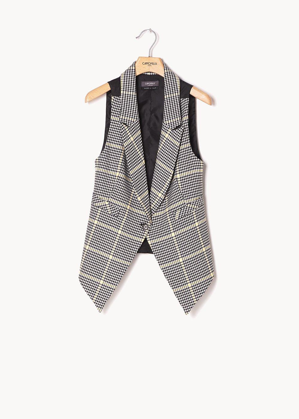 Gil waistcoat with checked pattern - White Black Fantasia - Woman