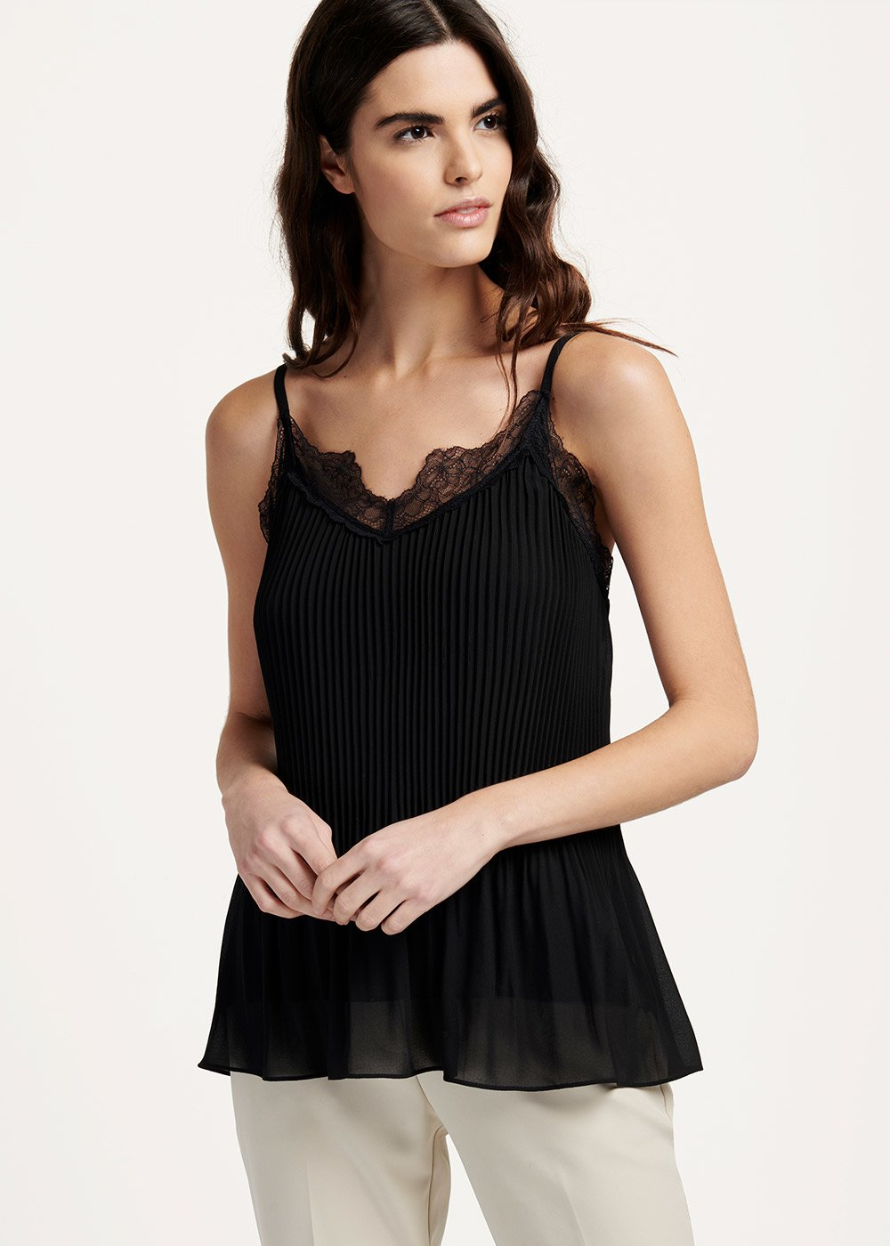 Tyler top with lace and pleated effect at the bottom - Black - Woman
