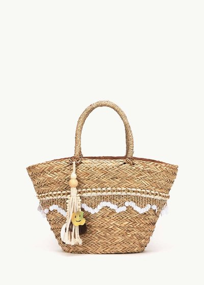 Bamor straw bag with detail of sequins