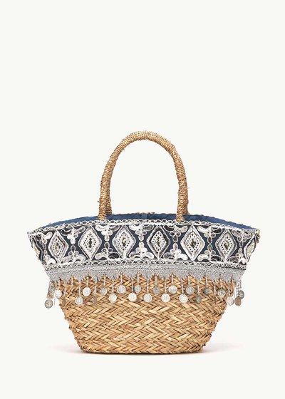 Bandy bag with coloured design and fringes