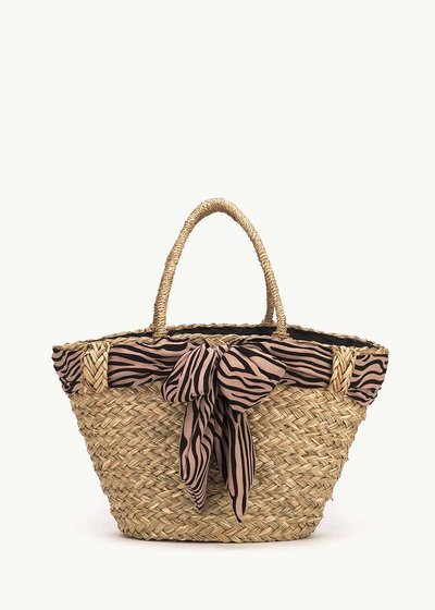 Balk straw beach bag with zebra patterned scarf
