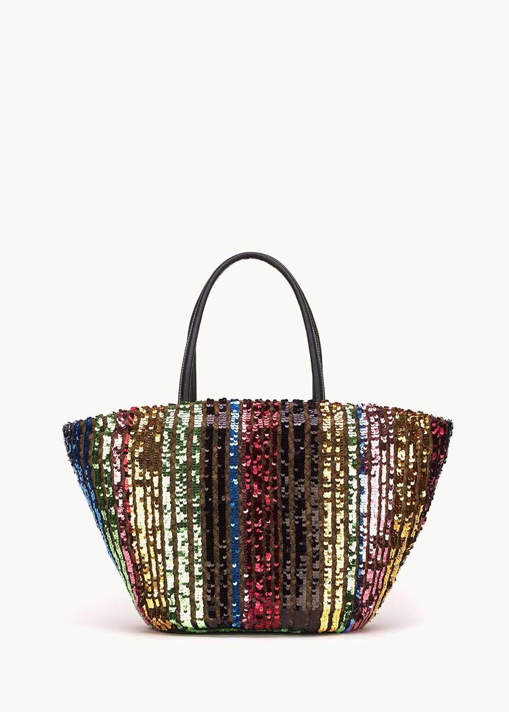 Baloon beach bag with multicolour sequins - Black / Stripes - Woman