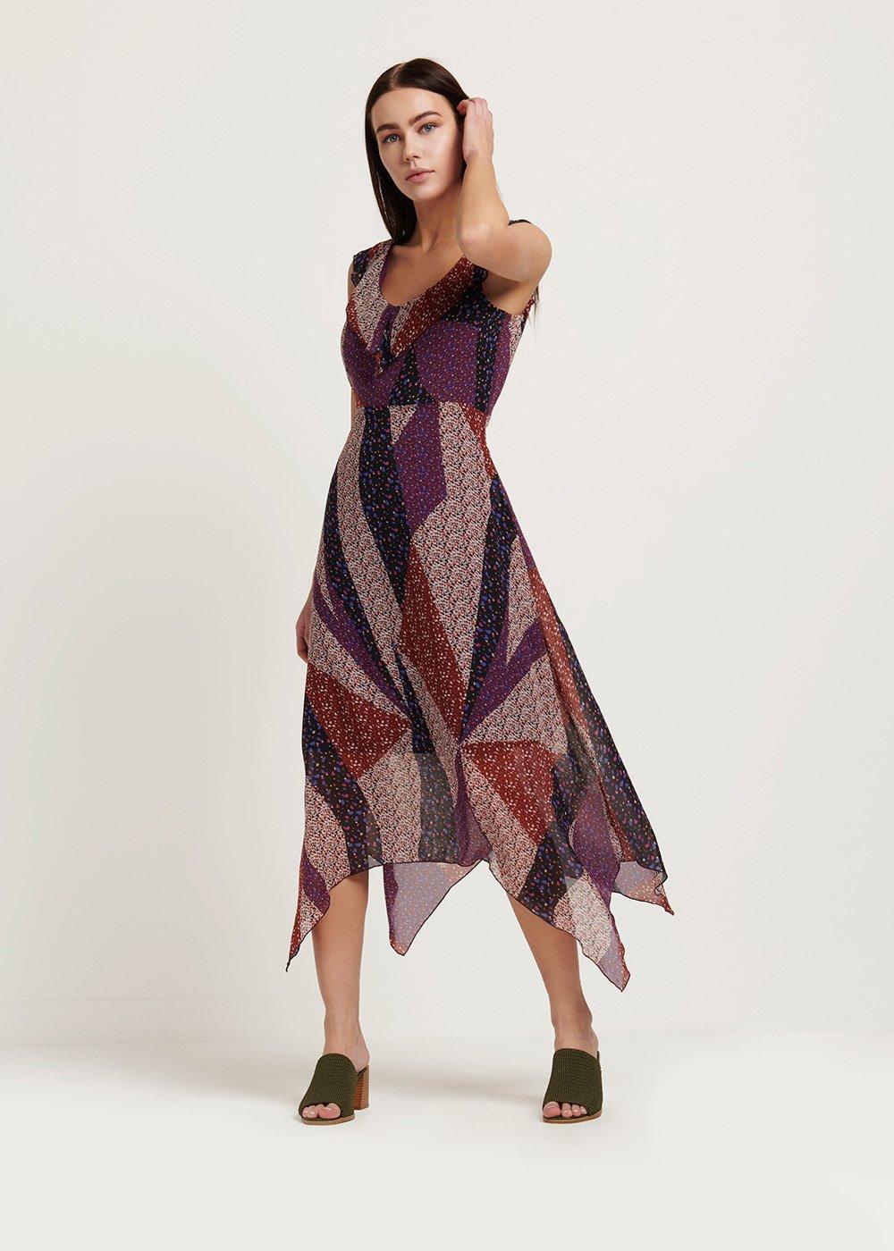 Aris dress with frills - Black / Cannella / Fantasia - Woman