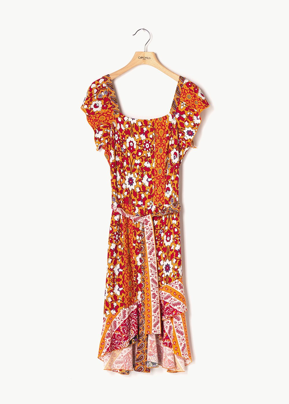 Abiss dress with coloured pattern - Sole\ White\ Fantasia - Woman