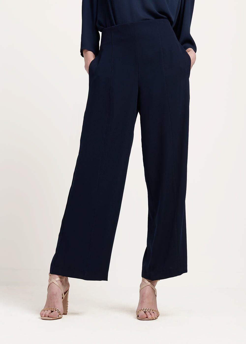 Pantalone Pamel in tessuto cady - Blue Navy - Donna