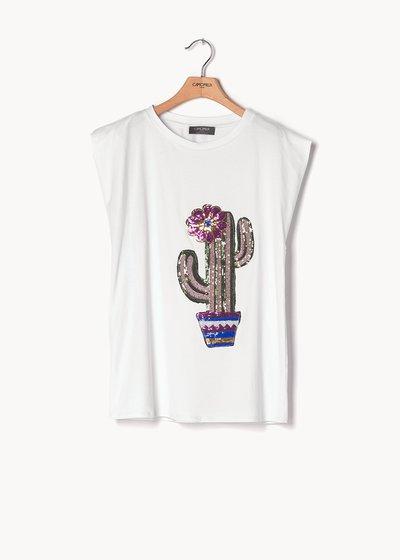 T-shirt Silvia in viscosa e paillettes