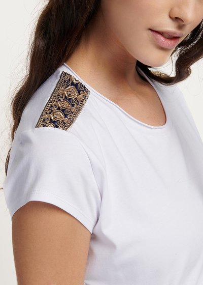 Suzanne viscose T-shirt with appliques