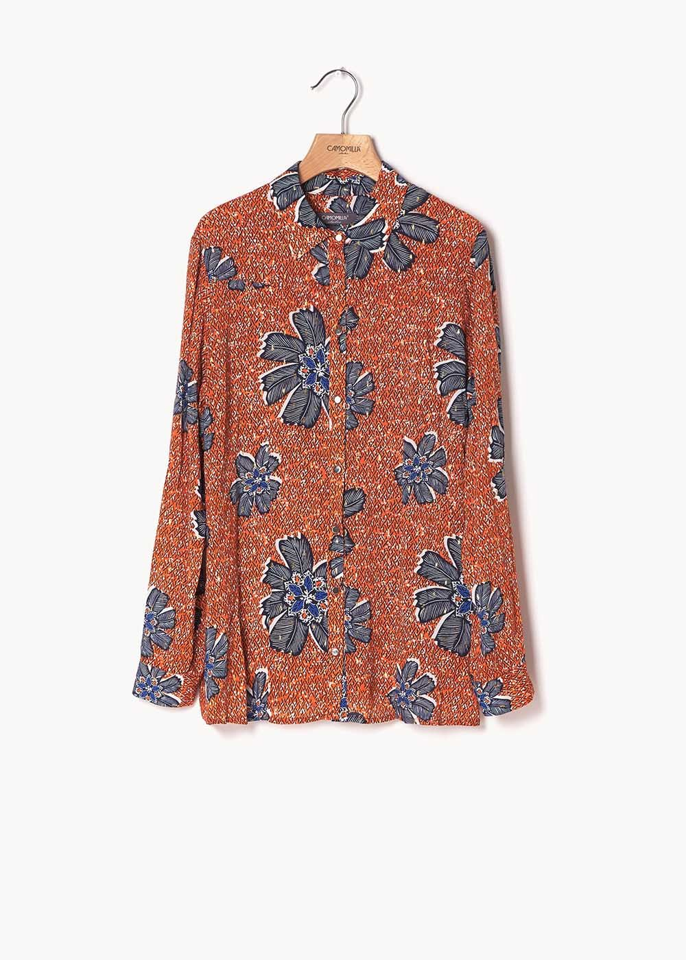 Alessia shirt with papaya and medium blue flower print - Papaya / Medium Blue Fantasia - Woman