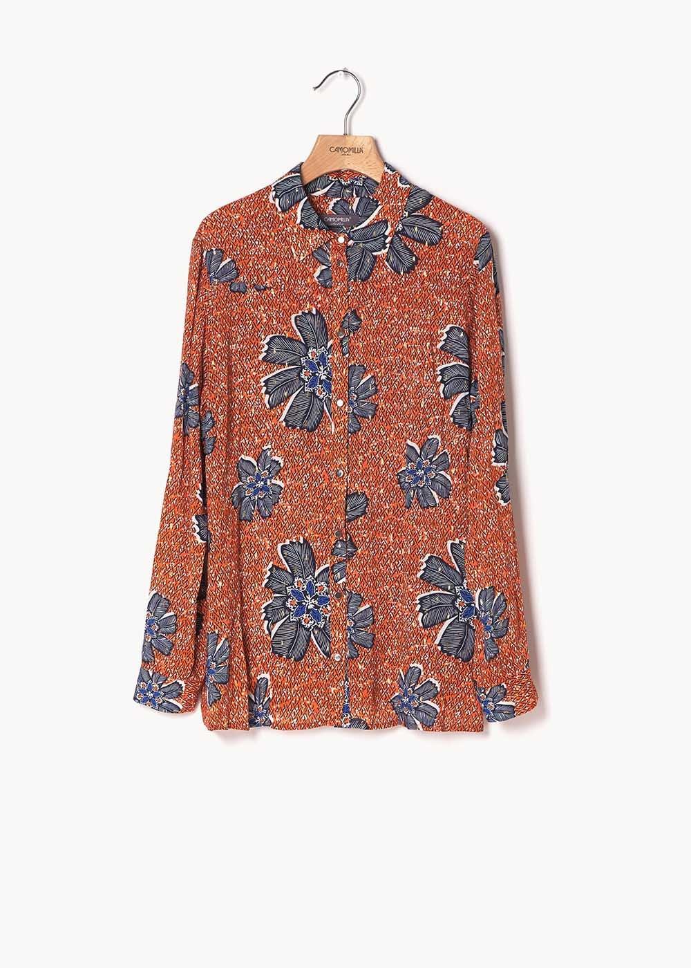 Alessia shirt with papaya and medium blue flower print - Papaya / Medium Blue Fantasia - Woman