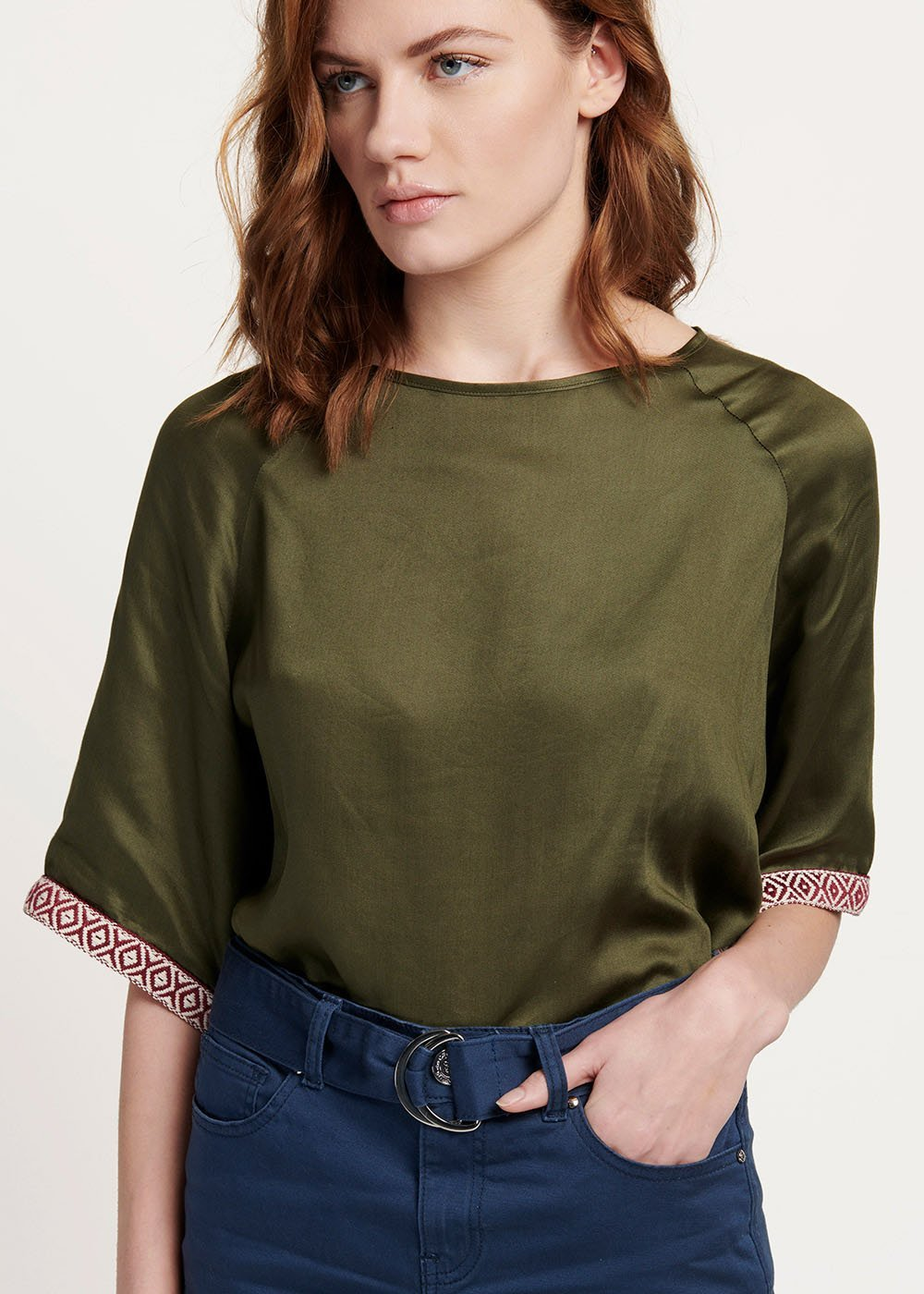 Sharly t-shirt with contrasting trimming - Green - Woman