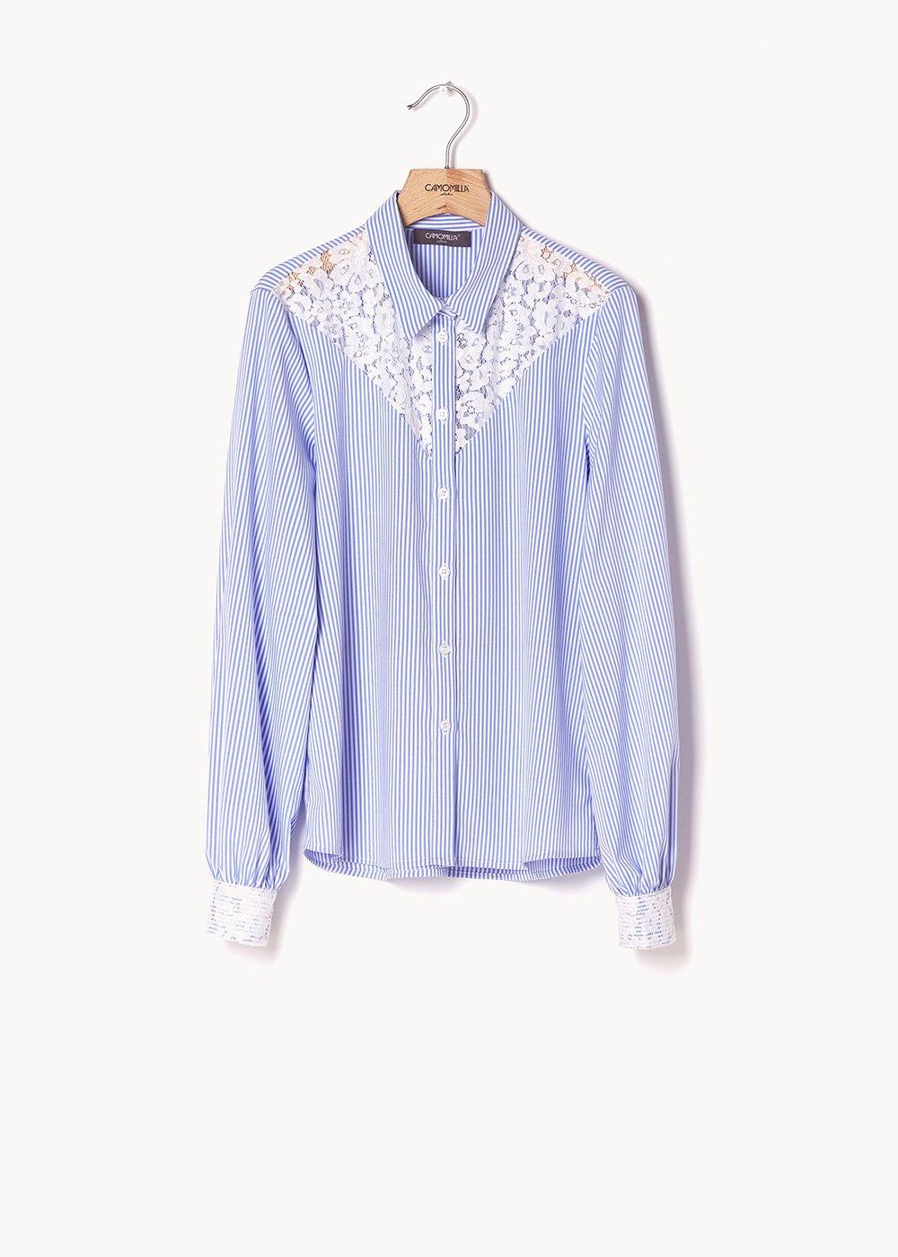 Camicia Callas a righe con inserti in pizzo - Rugiada\ White\ Stripes - Donna