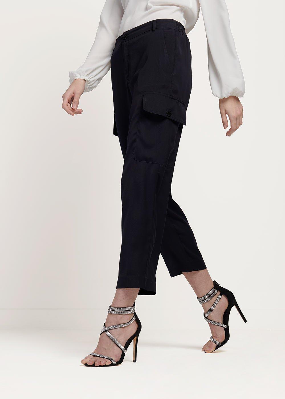 Pantalone Pier in tessuto raso con tasconi laterali - Medium Blue - Donna