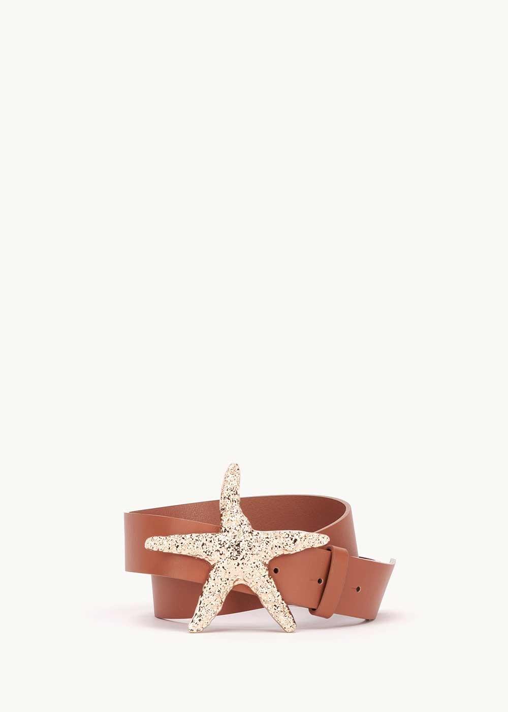 Cintura Candy con fibbia stella marina - Pecan - Donna