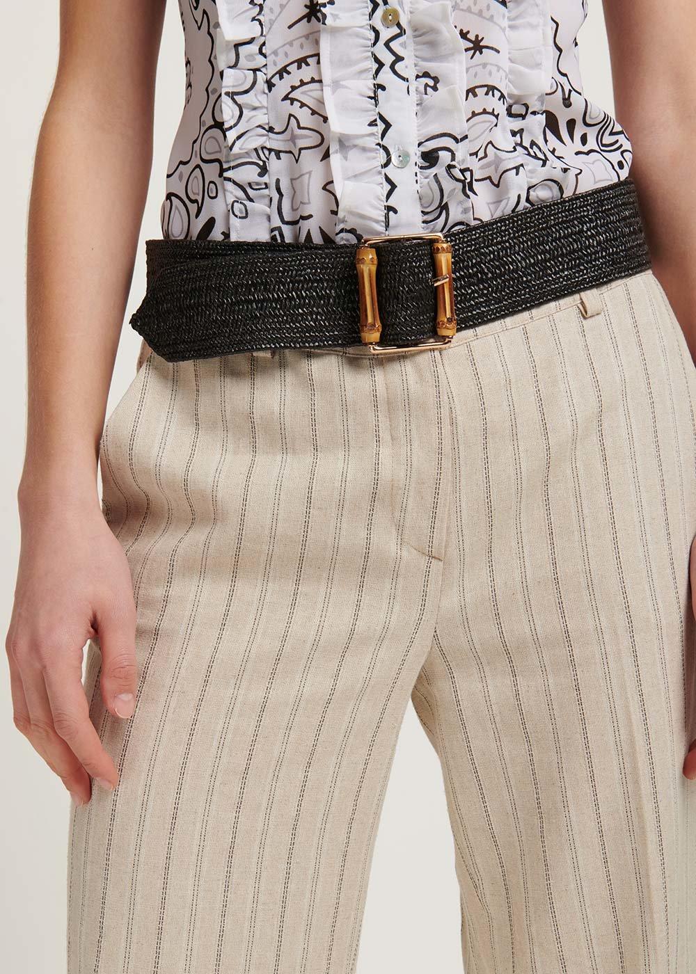 Cintura Caryl in raffia - Black - Donna