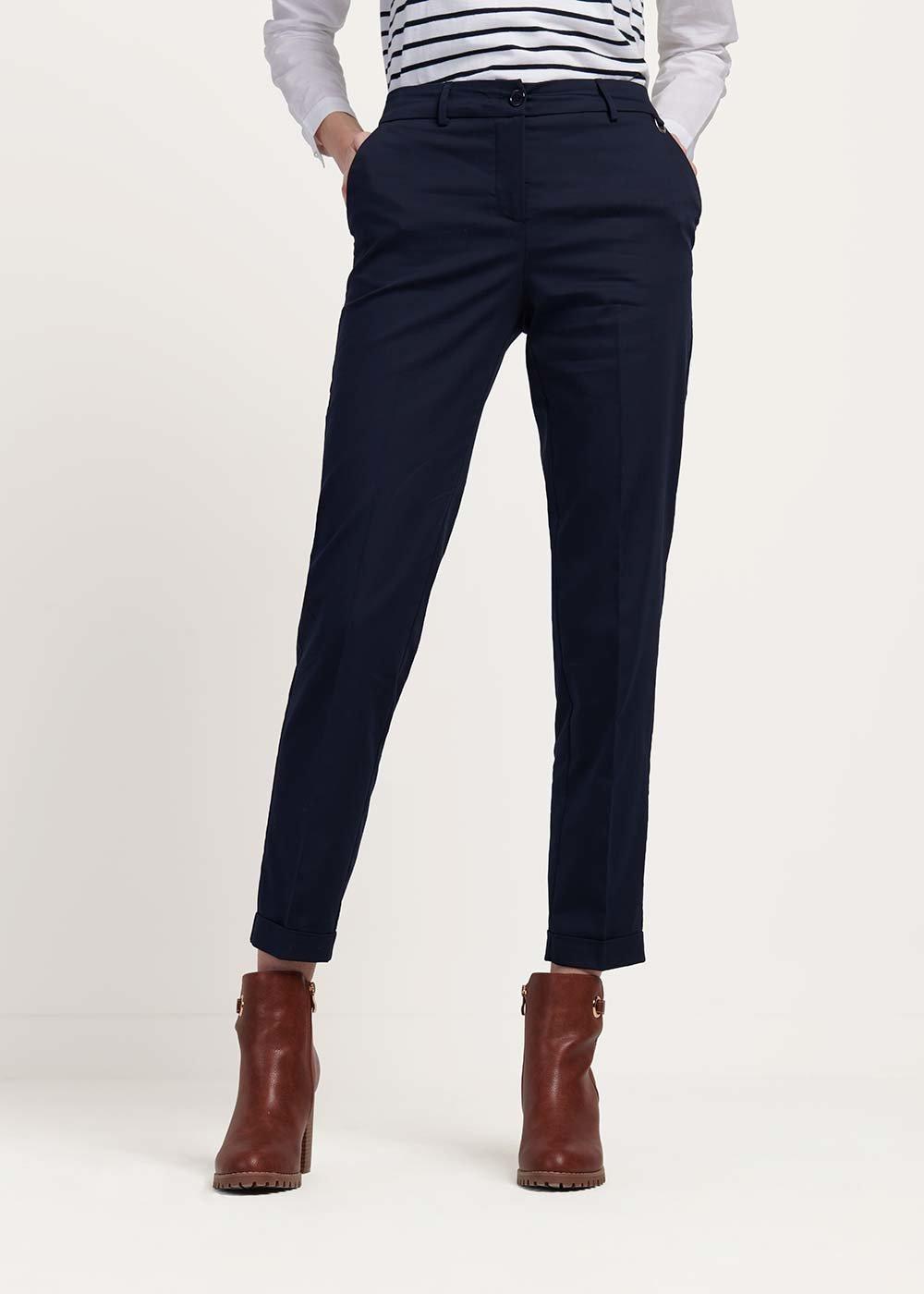 Pantalone modello Bella in cotone - Blu - Donna
