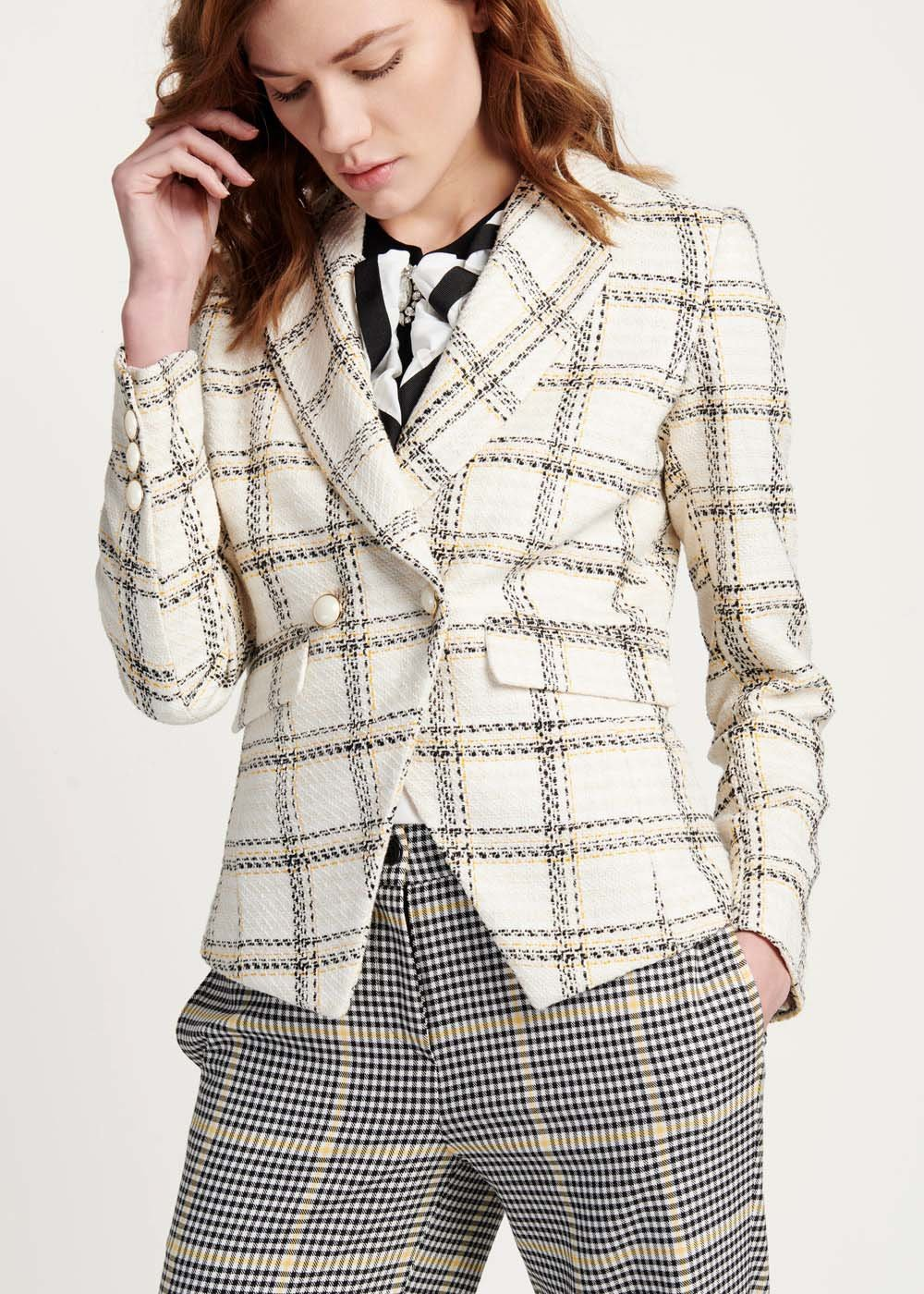 Giordy jacket in mixed checked fabric - White Black Fantasia - Woman