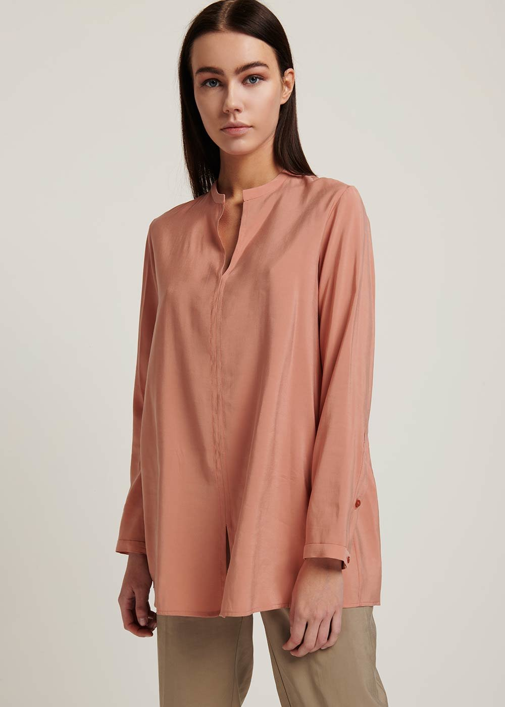 Cora silk-effect shirt - Salmon - Woman