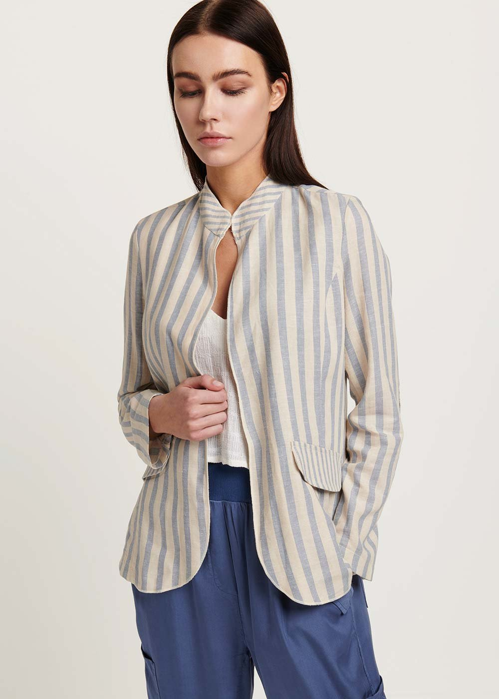 Caroline shirt with dew stripes - Rugiada / White / Stripes - Woman