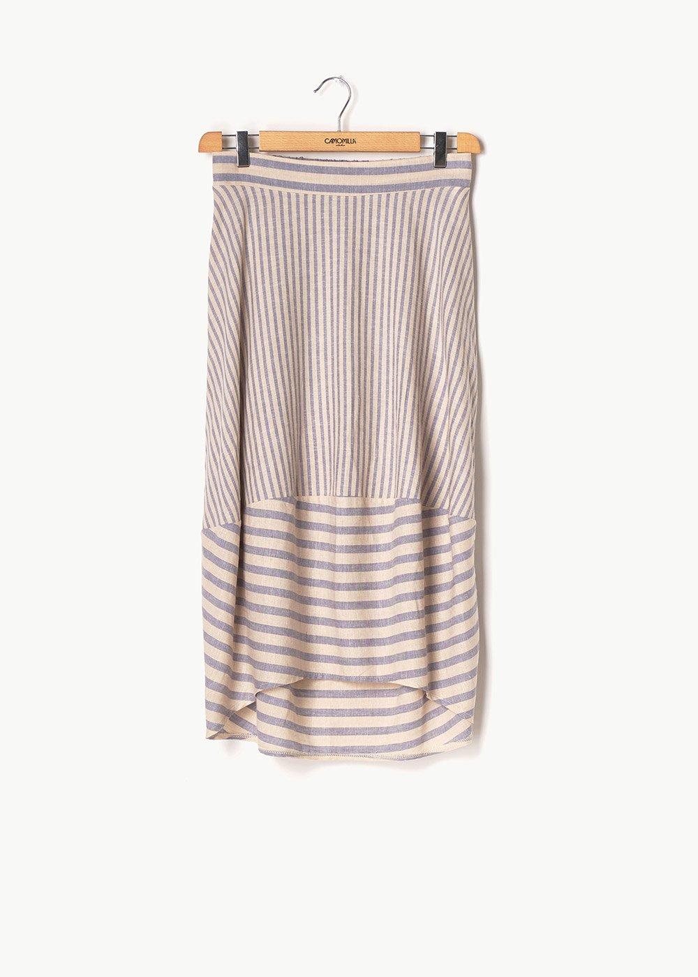 Glady skirt with dew stripes - Rugiada / White / Stripes - Woman