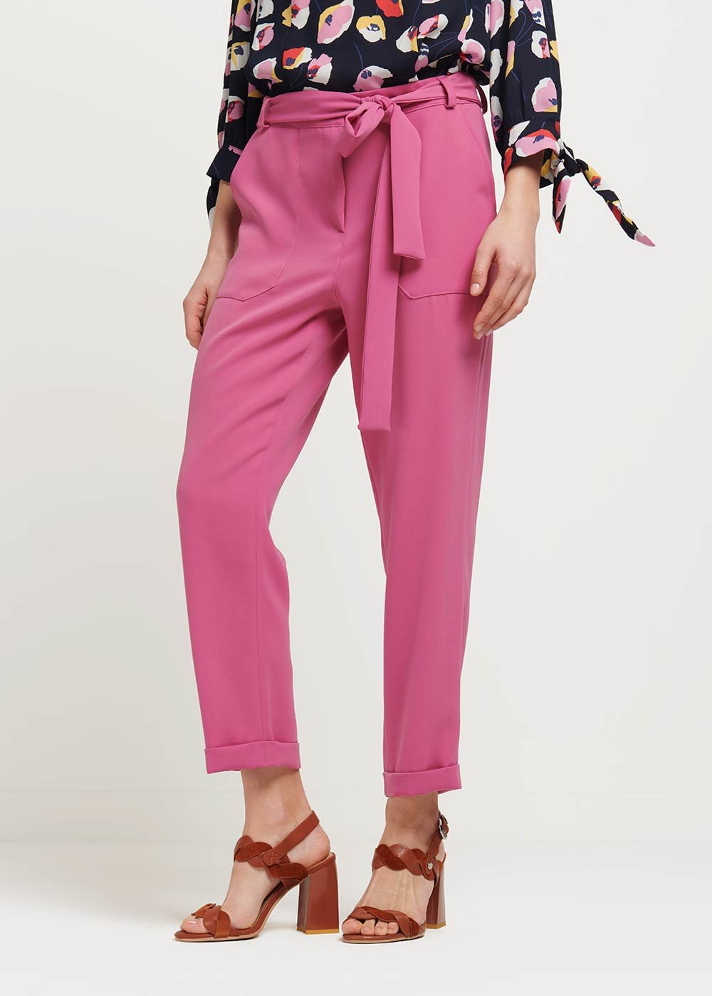 Penny trousers with belt - Candy - Woman