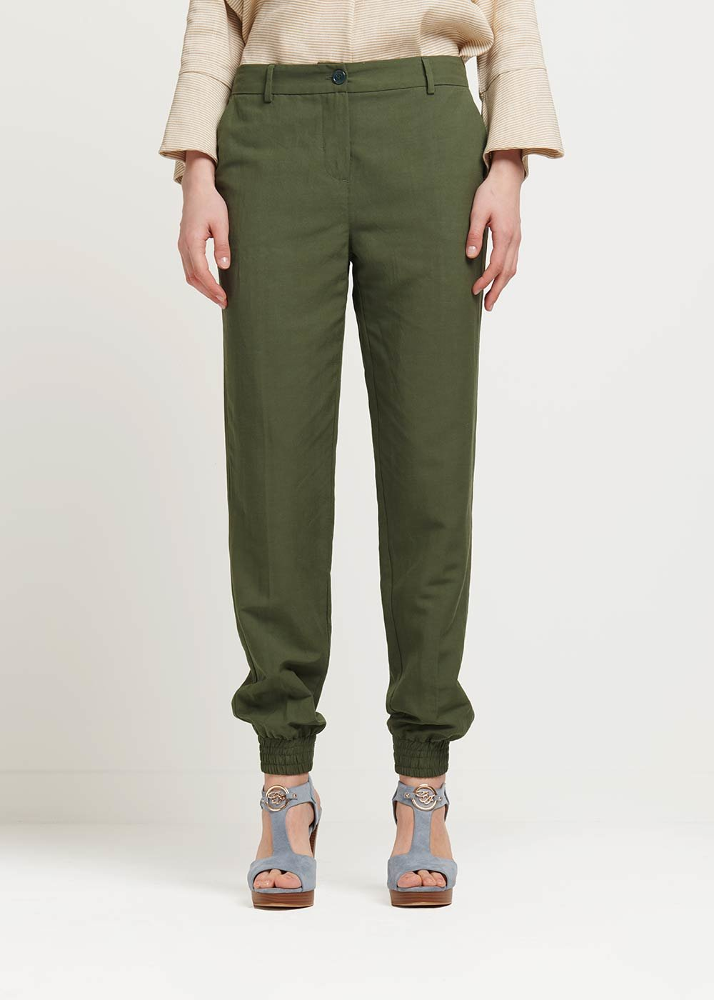 Jane trousers with zipper at the bottom - Green - Woman