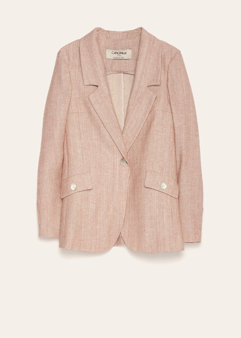 Jeremy classic cut jacket with mother-of-pearl buttons - Salmone / White Fantasia - Woman