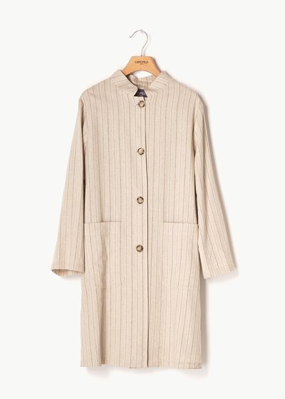 Bess pinstriped raincoat with tortoiseshell buttons