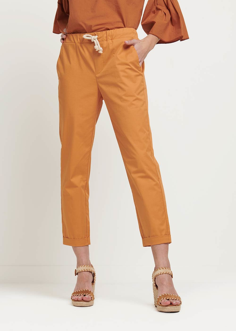 Cara trousers with waist string - Cinnamon - Woman