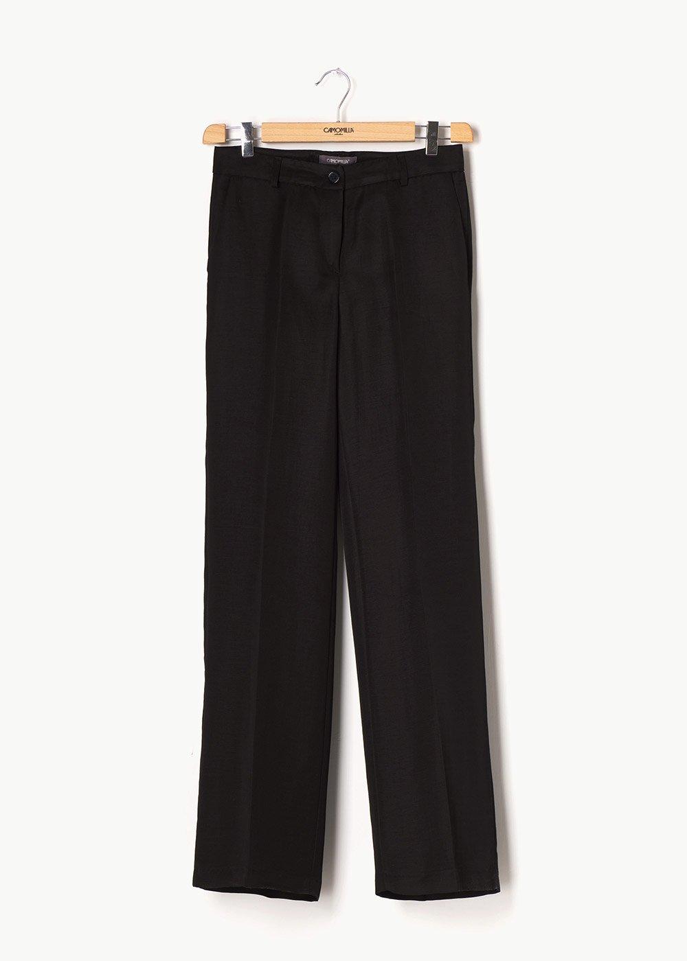Pantalone modello Giorgia in tessuto misto lino - Black - Donna
