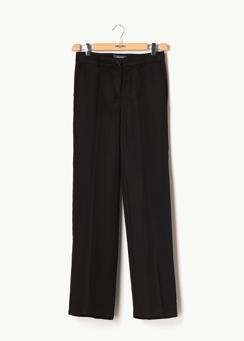 Giorgia trousers in linen blend fabric - Black - Woman