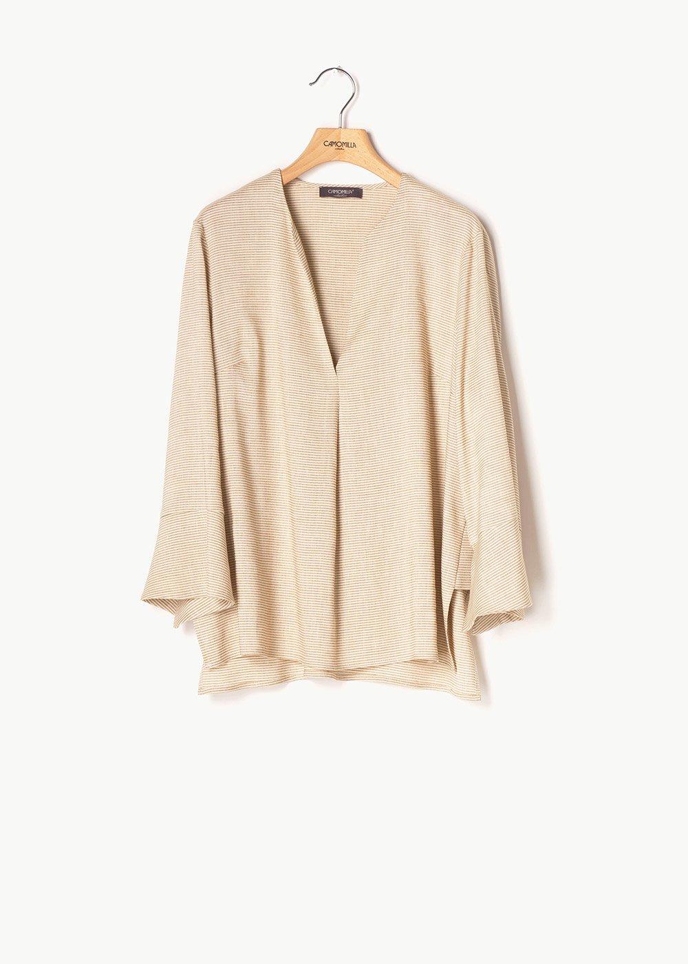 Selia V-neck t-shirt - L.beige \ Whte Stripes - Woman